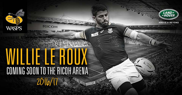 Willie Le Roux signed by Wasps for 2016/2017 Season