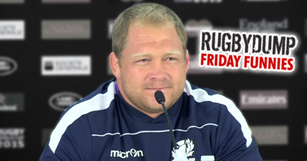 Friday Funnies: Awkward RWC 2015 press conference proves Scotland's South African born prop does not play the bagpipes!