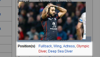 Yoann Huget positions on Wikipedia page edited to reflect fans view