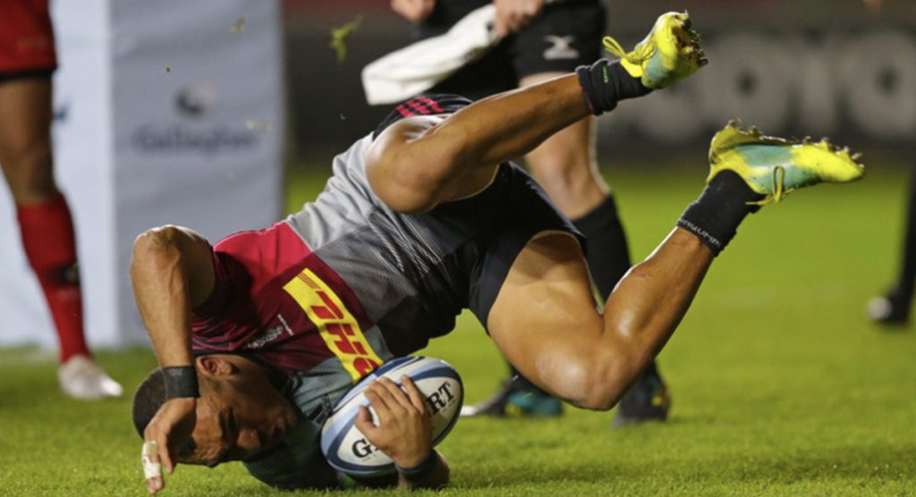 Joe Marchant's penalty kick chase results in remarkable try for Harlequins