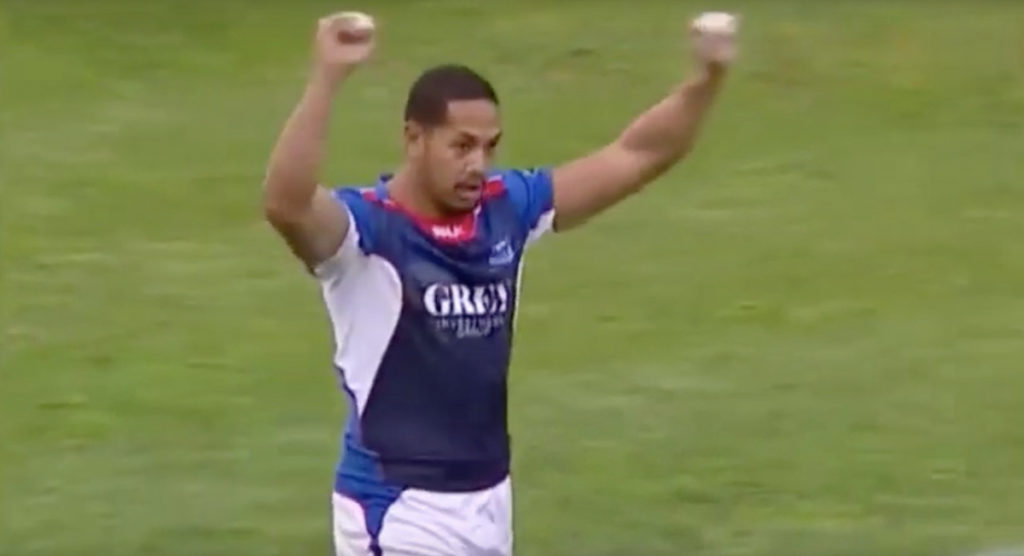 FRIDAY FUNNIES: Samoan wing does his best celebratory act despite clear blooper