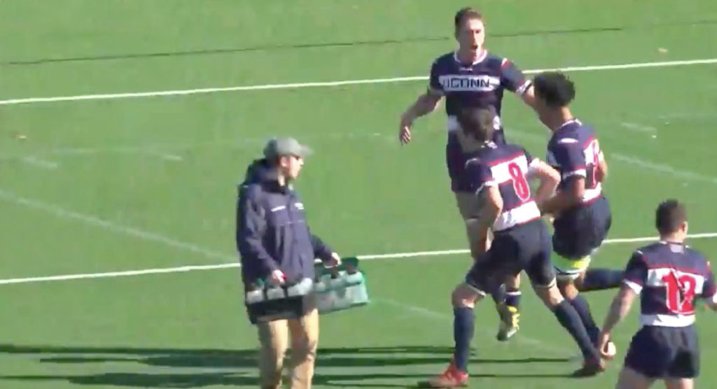 University player finishes great try then celebrates like you've never seen before