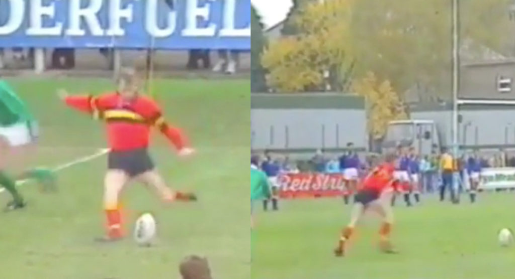 Impressive footage of the man who could slot goal kicks with either foot