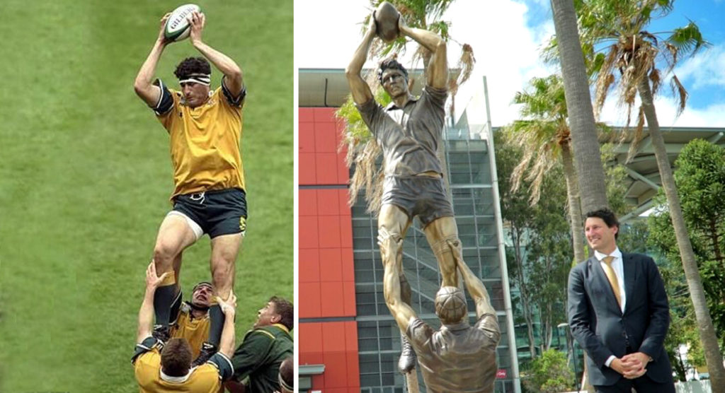 Wallaby legend John Eales 'mainly embarrassed' as giant statue is unveiled in his honour