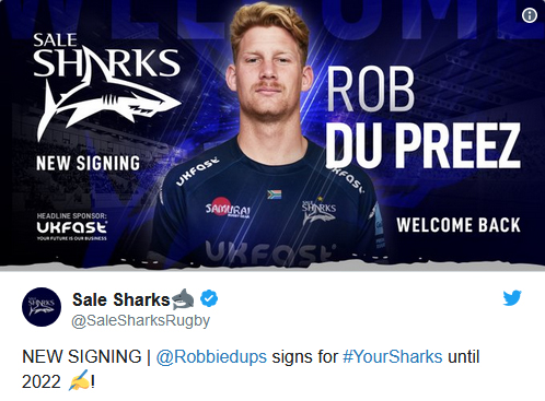Rob du Preez signing for Sale Sharks