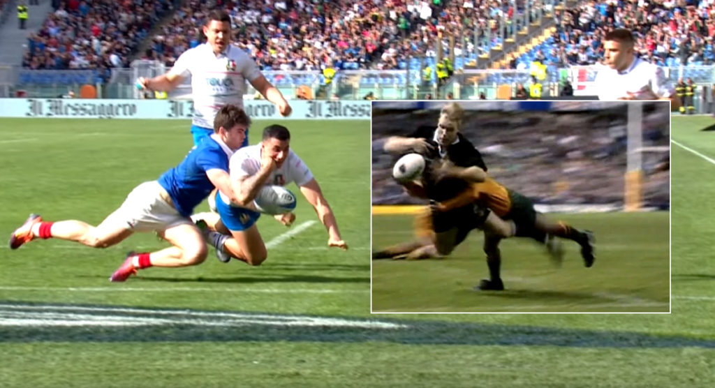 Penaud's try line effort is right up there with the closest thing to THAT Gregan tackle we've seen
