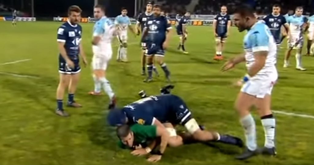 French Second Row flattens referee with hefty tackle but gets away with just a warning