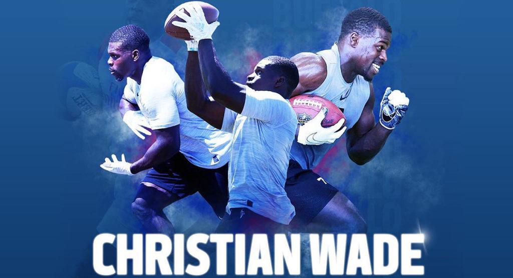 Christian Wade celebrates Buffalo Bills selection in style