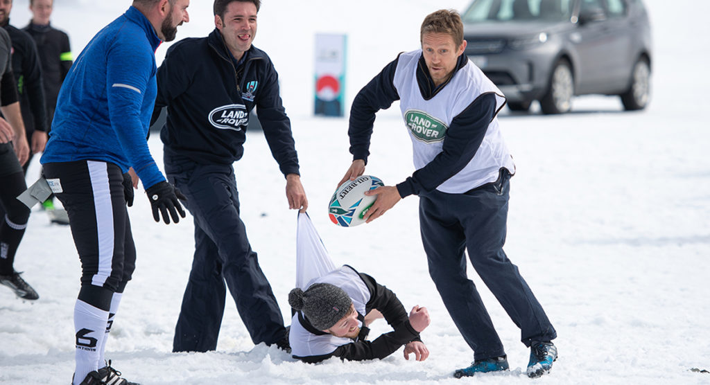 Jonny Wilkinson laces up for the first time in 3 years as he tries his hand at snow rugby in the French Alps