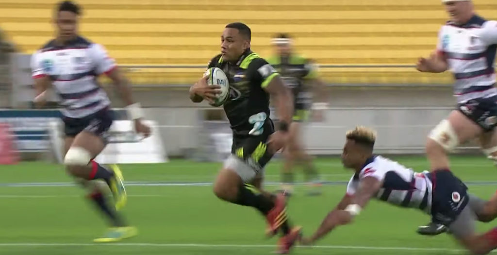 Laumape burns through Rebels defence to score awesome solo try