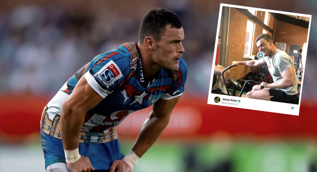 Jesse Kriel is back in the gym just four days after surgery