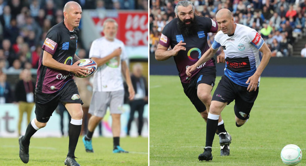Zidane and Chabal go head to head in charity football/rugby match
