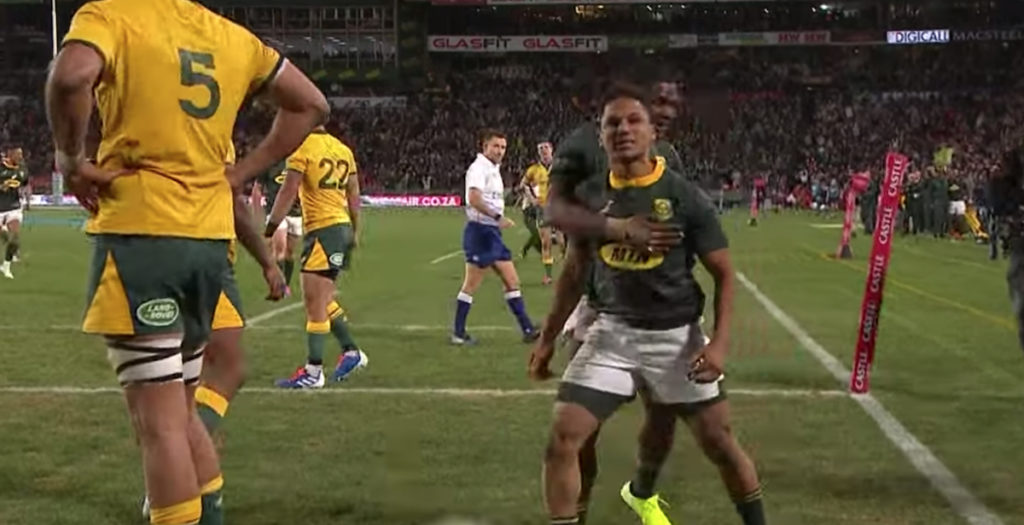 WATCH: Cheeky Jantjies try helps South Africa sink Wallabies