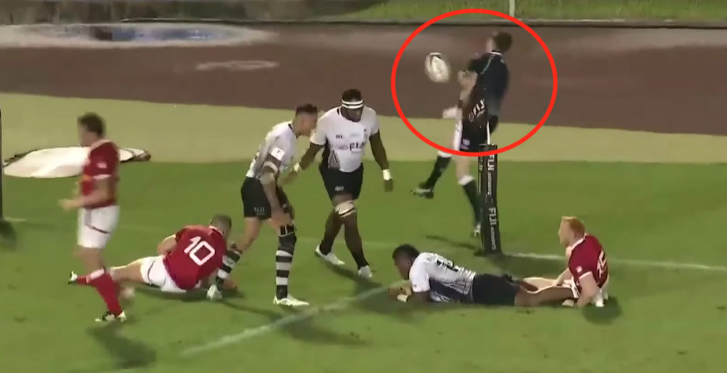 Fiji star scores stunning try then throws ball at linesman