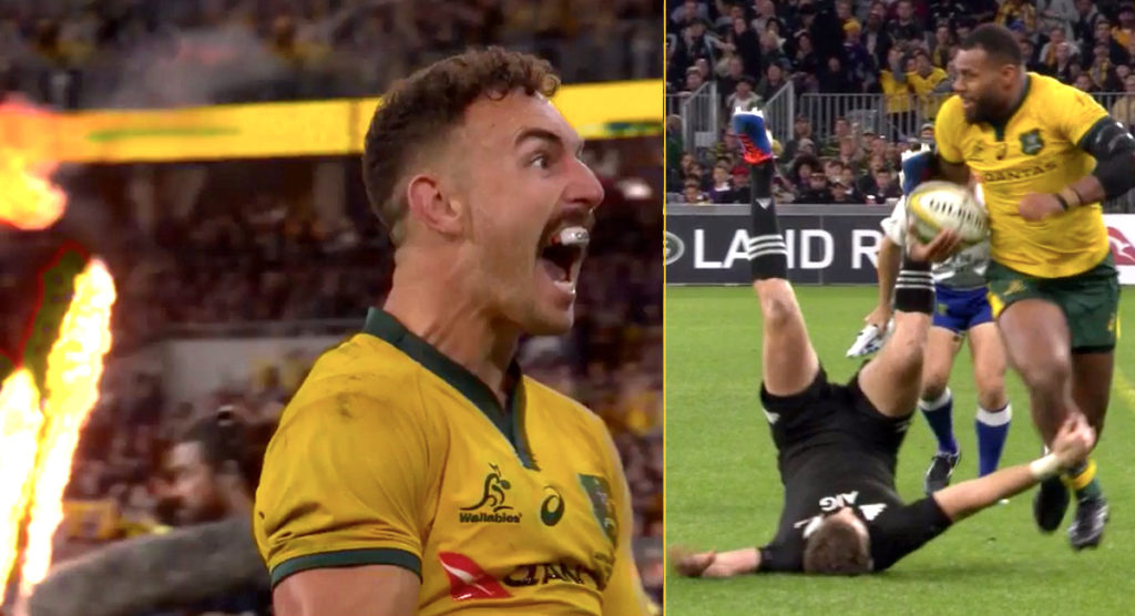 Beauden Barrett steamrolled in Wallabies Try of the Week