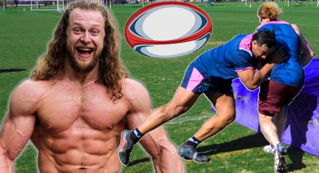 Bodybuilding sensation tries Rugby, gets smashed