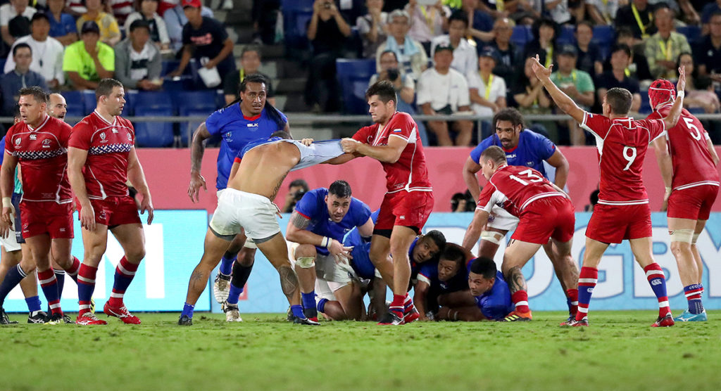 Foul play in the spotlight again as Samoa escape two red cards to win comfortably
