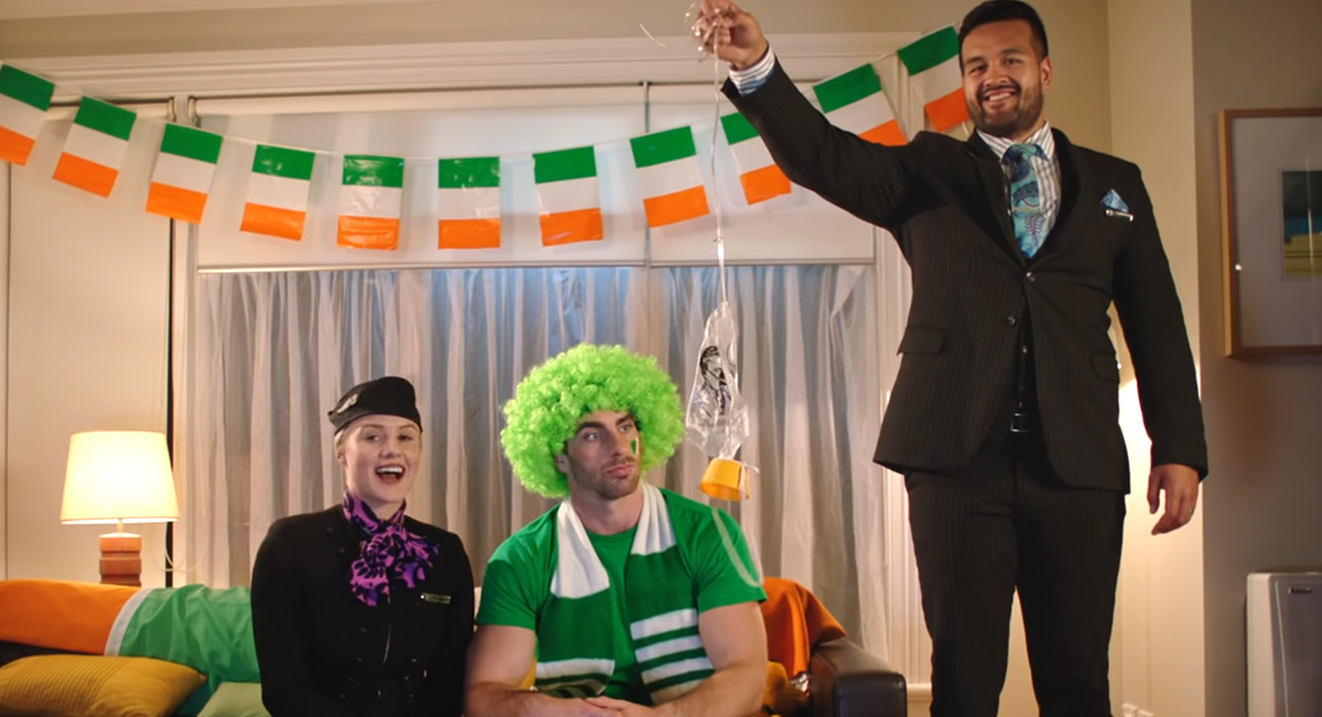 Air New Zealand's hilarious safety tips troll Ireland fans ahead of quarter final