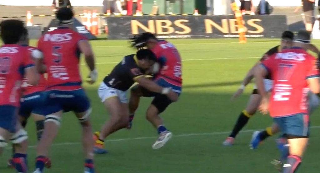 Asafo Aumua knocks the strapping off winger with thumping hit in NPC final