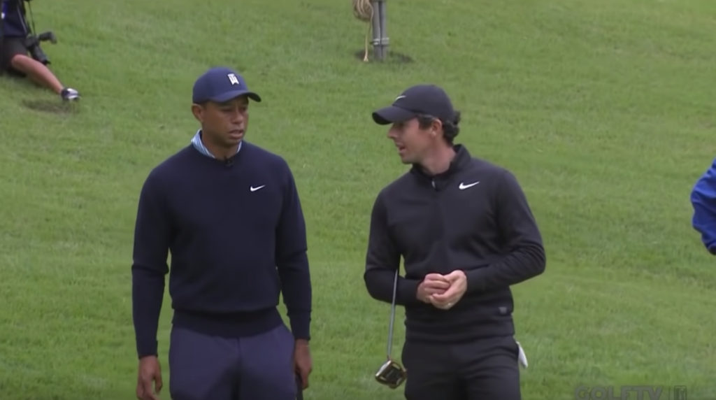 Tiger Woods and Rory McIlroy share conversation about Rugby World Cup during PGA tour