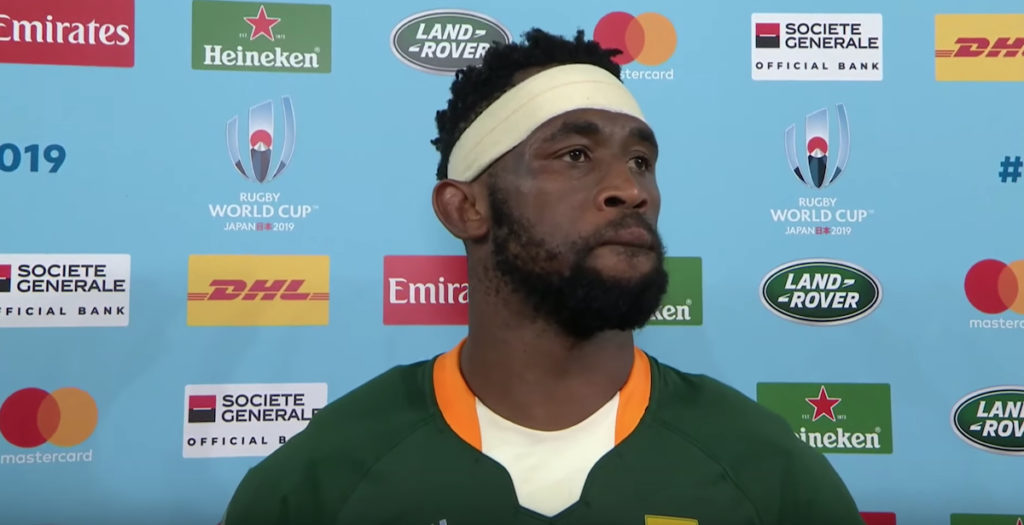 Kolisi gives emotional speech on behalf of South Africa after final whistle