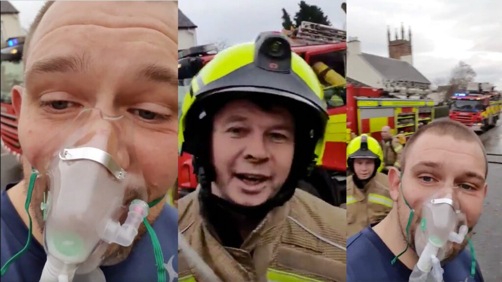 Scottish Prop saves man from burning house - films the aftermath