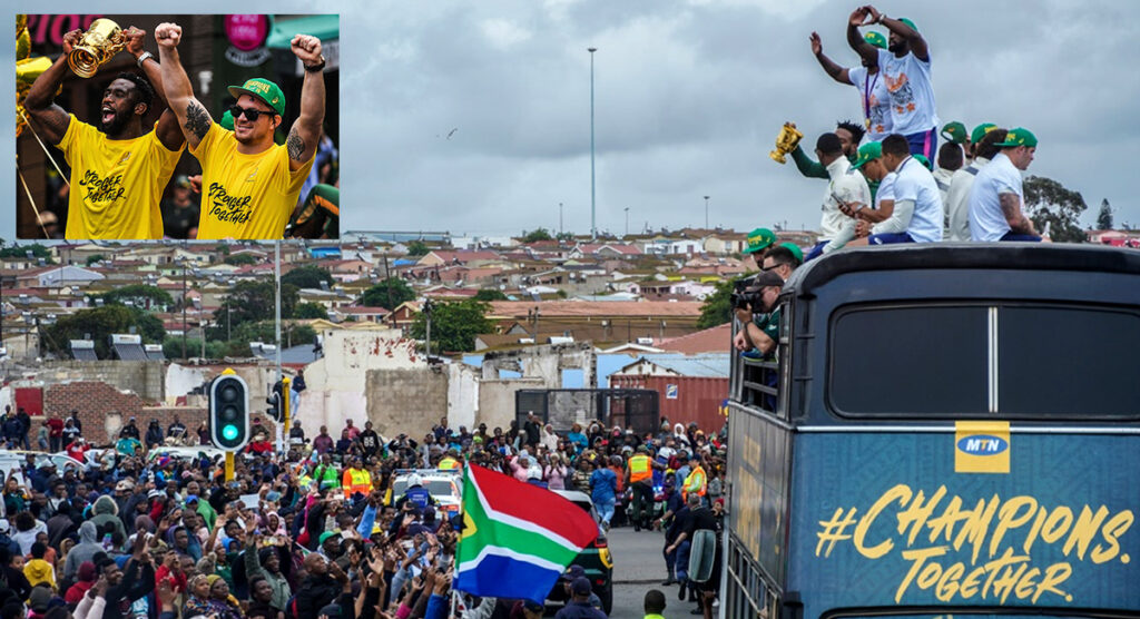 WATCH: Unbelievable scenes as trophy tour concludes and Siya Kolisi thanks all South Africans