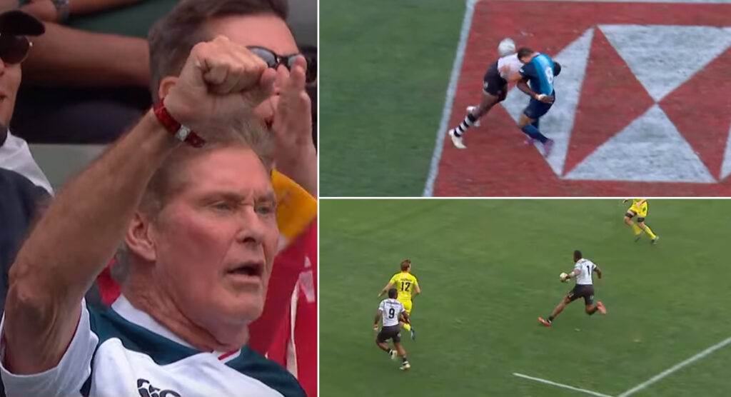 Fiji deliver possibly the biggest hit and best no look pass you'll see all season