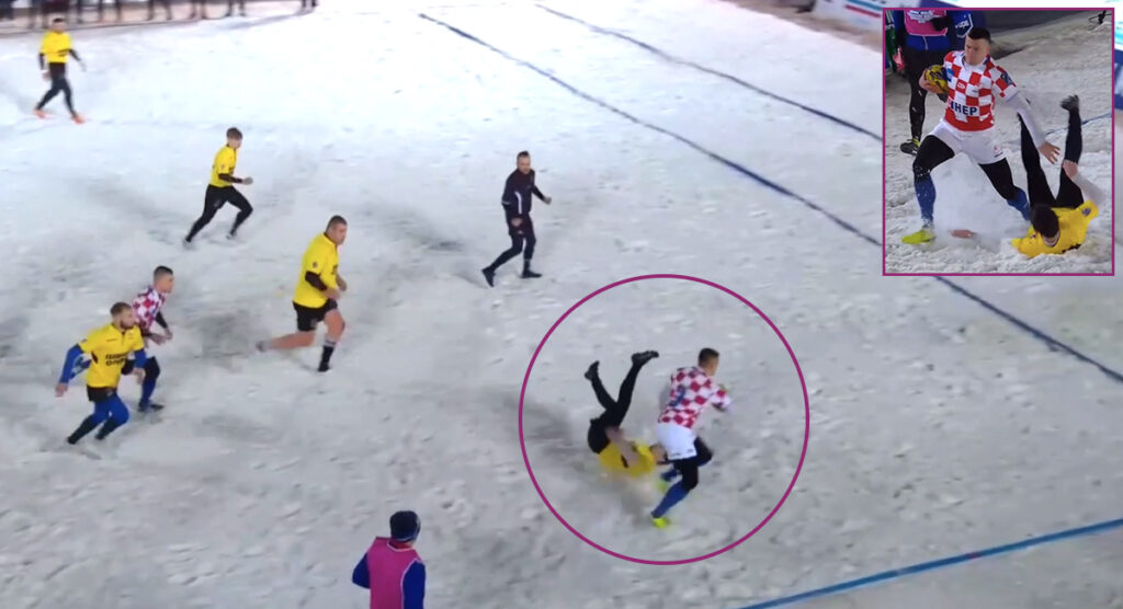 Snow rugby can be brutal, especially when you have guys like this running straight at you