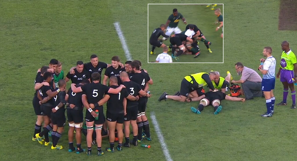 All Blacks skipper broke his neck just two years ago with this attempted clean out vs the Springboks