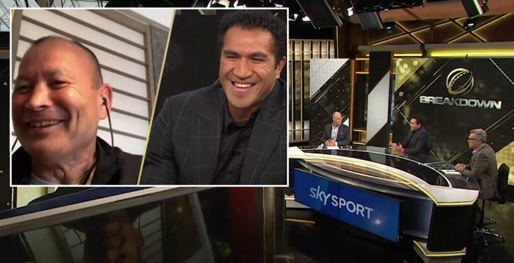 Eddie Jones mocks All Blacks legends in HILARIOUS video call interview
