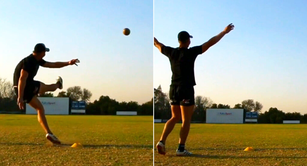 Kicking coach uses different method to slot a kick that 'might even be more than 80m'