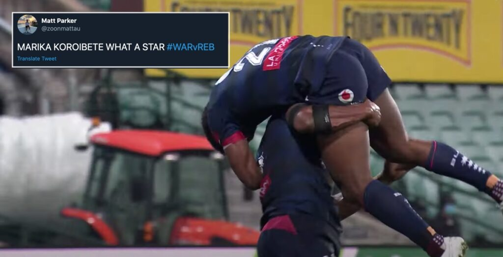 Koroibete fend makes his opposite number look like a schoolboy in Super Rugby AU