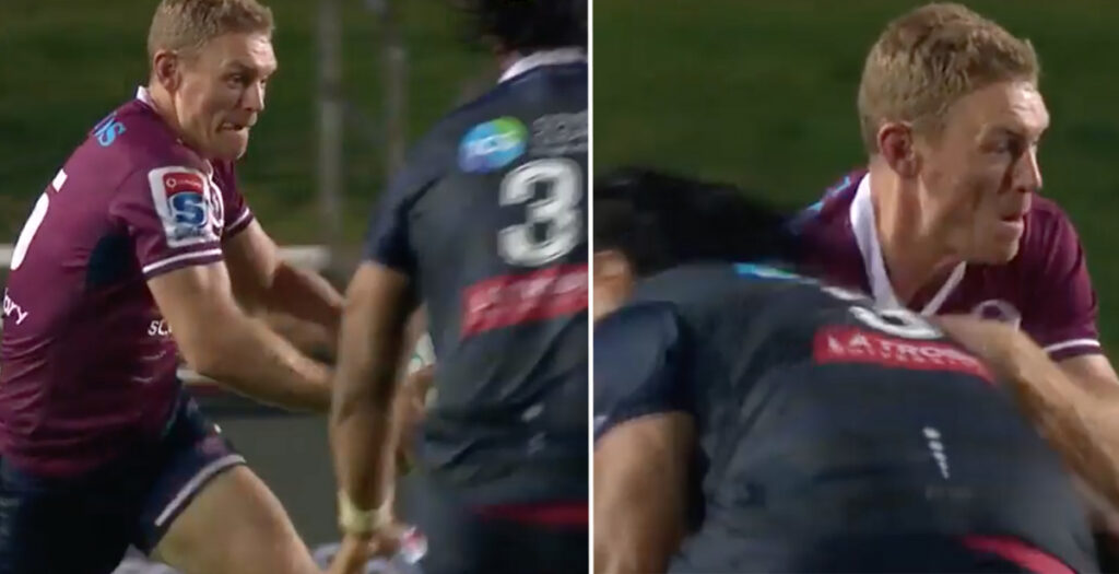 Reds full back runs straight into 130kg prop resulting in bone-crunching smash