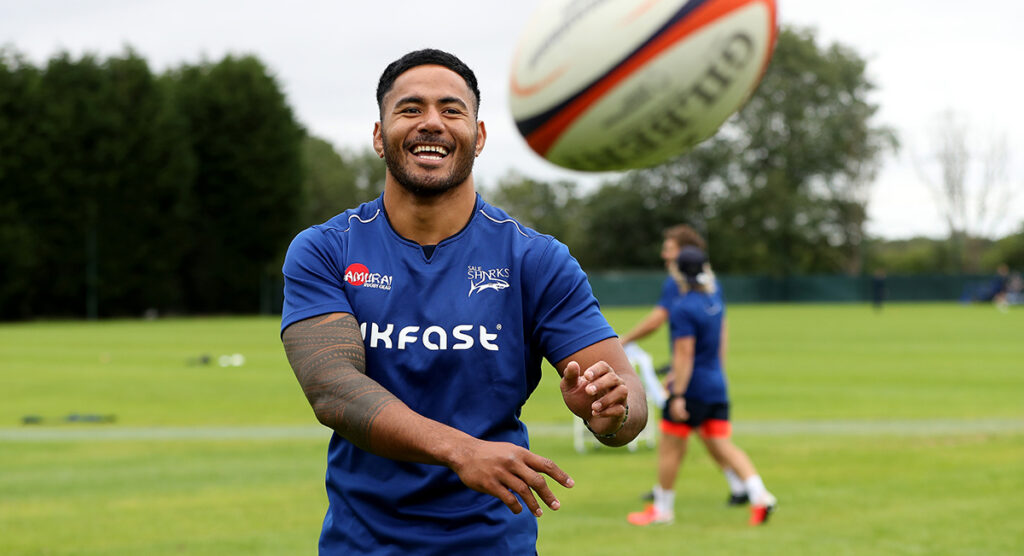 Manu Tuilagi looking happy and at home as he starts training with new club Sale Sharks