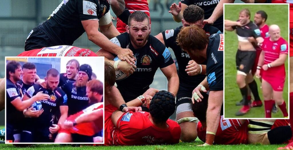 Luke Cowan-Dickie and Ellis Genge take centre stage in bizarre scenes at Sandy Park