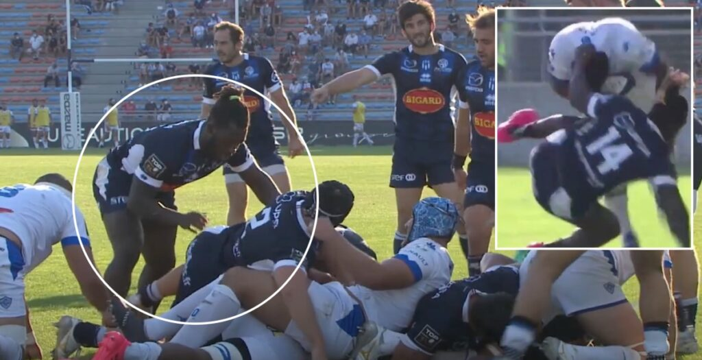 WATCH: Ibitoye bags brace on Agen debut and gets bounced hard by Fiji winger