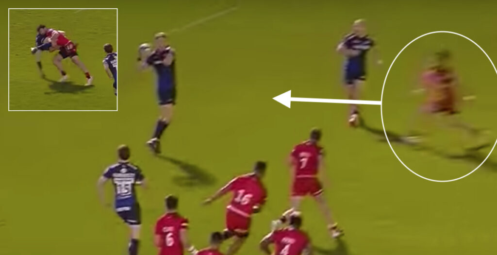 Lovely textbook dump tackle leads to slick cross field try for Sarries