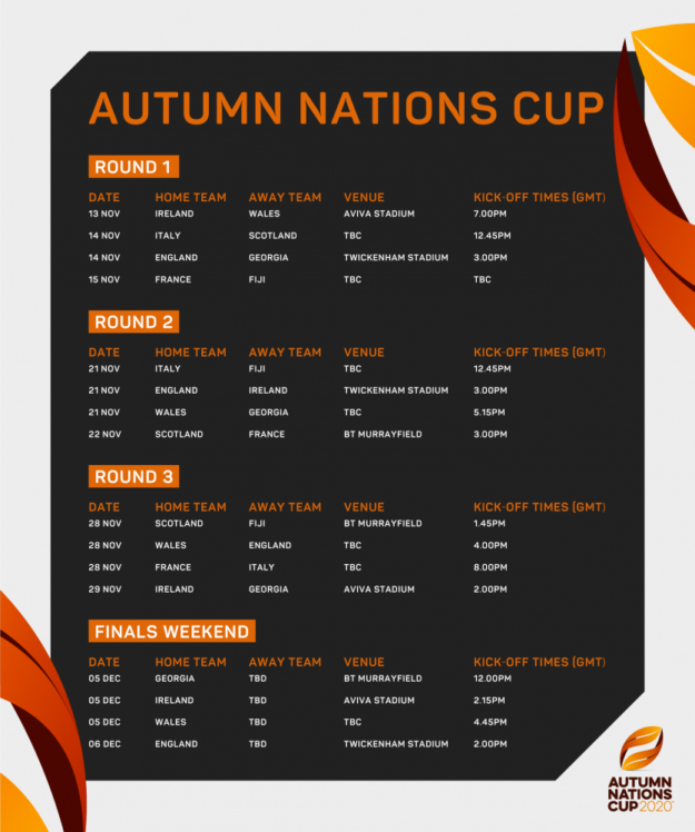 Autumn Nations Cup fixtures