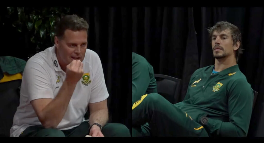 Uncut footage shows how Springbok coach motivated his players ahead of huge 2019 Test