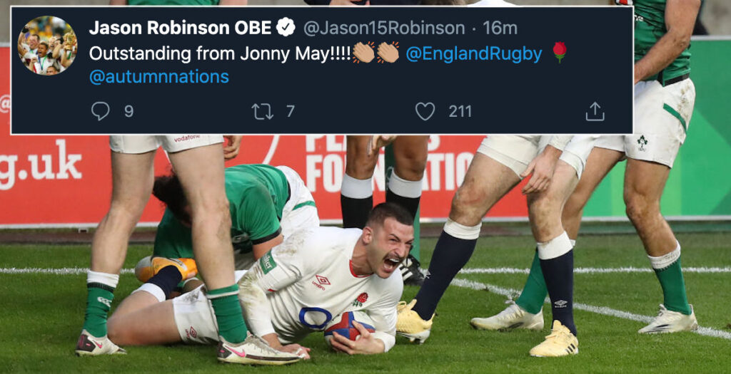 Legends react to stunning Jonny May try vs Ireland in Autumn Nations Cup