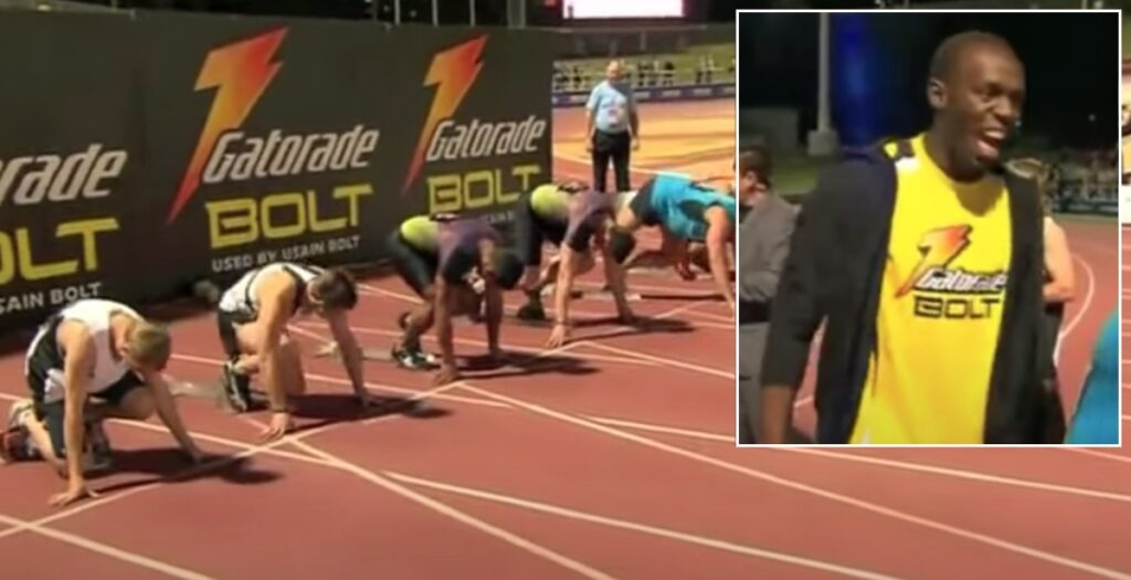 The time Usain Bolt watched rugby's fastest players run 100m track race