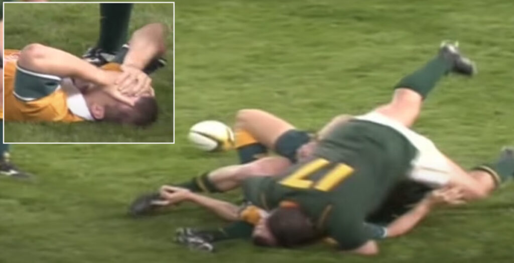 Wallabies legend 'Red Rocket' injured in crunching hit from Springbok props