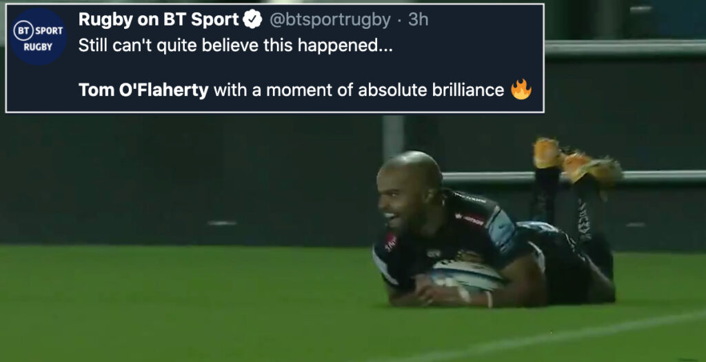 Exeter winger pulls off O'Driscoll-style volley in early try of the season contender