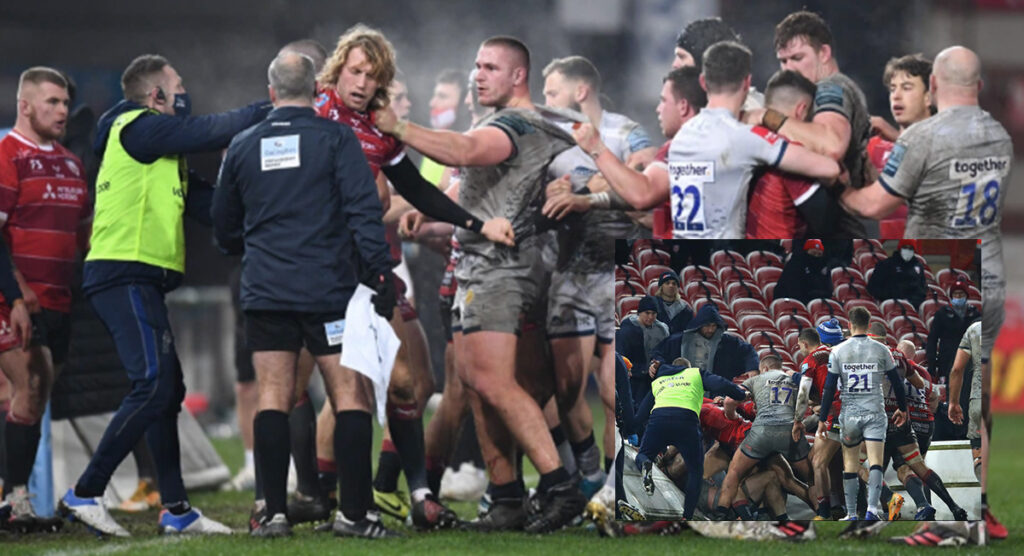 Frustrated former England star sparks late brawl that ends in the stands