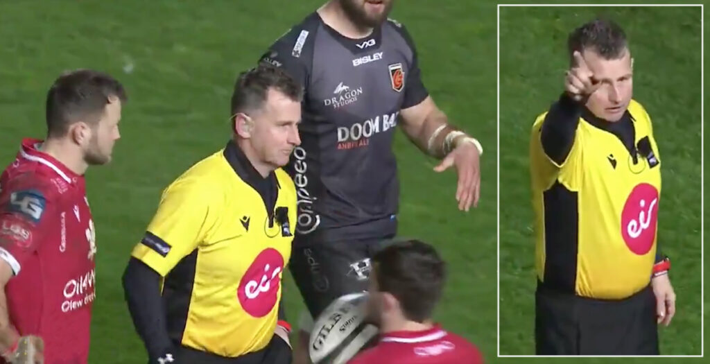Nigel Owens produces comedy gold by forgetting crucial piece of kit during Pro14 clash