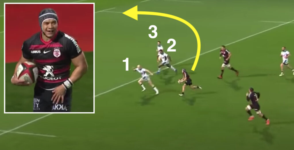Cheslin Kolbe beats THREE defenders with wicked left foot step