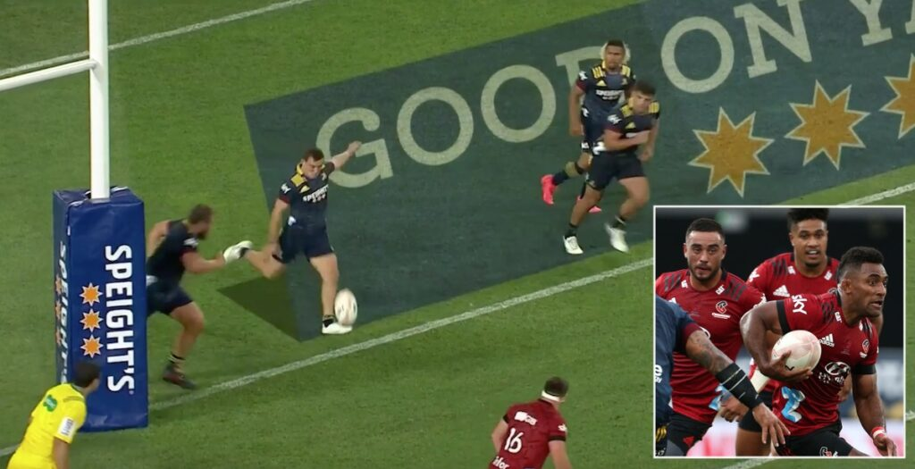 First Super Rugby Aotearoa goal line drop out sets up amazing finale in tournament opener