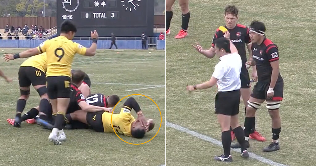 Duffie lucky with just yellow as shoulder clocks Kerevi in the face