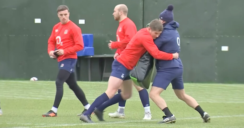 Footage of Owen Farrell's tackling at England training has boggled the minds of some fans